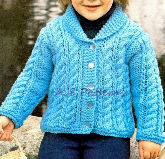 Knitting Pattern For Fitted Jacket : PDF Knitting Pattern for a Chunky Knit Childs Jacket to fit