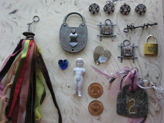 CLEARANCE Findings and Unique Elements Vintage Frozen Charlotte Doll Antiqued Silver Rhinestone Padlock