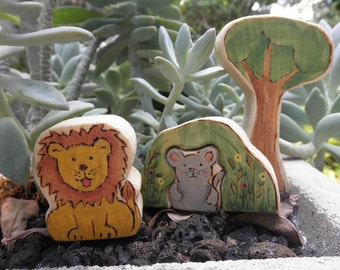 Wooden Toy Set The Lion and the Mouse-Story Book Series Waldorf Inspired