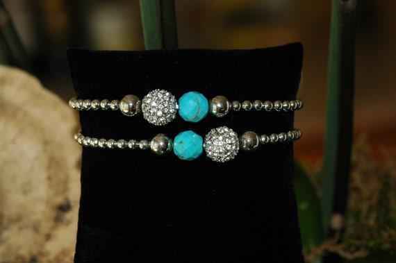 Set of 2 bracelet, Stretch silver and crystal Pave Bracelet,  Turquoise color and silver bracelet, gift for her, summer bracelet