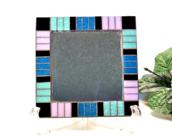Locker mirror stained glass mosaic turquoise blue lavender
