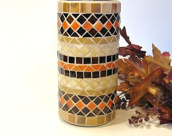 Stained glass mosaic vase or pillar candle holder brown orange amber