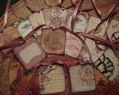 """2"""" X 2""""  Viarity  Gift  Tags  Vintage  Distress  Rose  Color  Cream Background  Rose  Ribbon"""