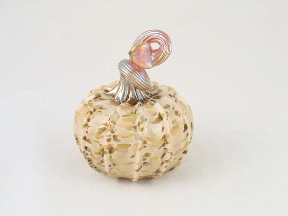 Handblown Glass Pumpkin Earthy Holiday Decor Natural Woodland Soft Pale