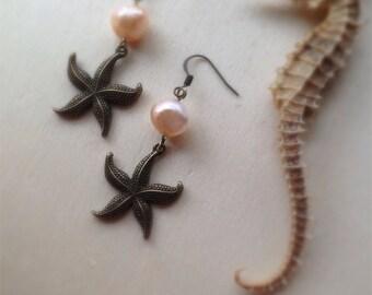 Starfish & Freshwater Pearl Earrings