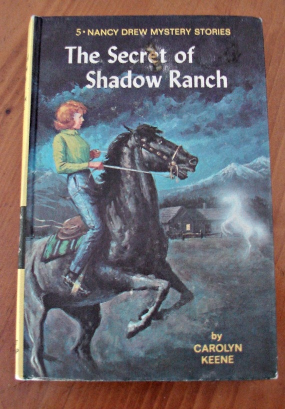 Nancy Drew book,The Secret of Shadow Ranch 5, Vintage Children's series, 1960's edition,  Hard cover