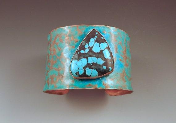Turquoise Freeform Shape- Hammered Copper Verdigris Patina Statement Cuff