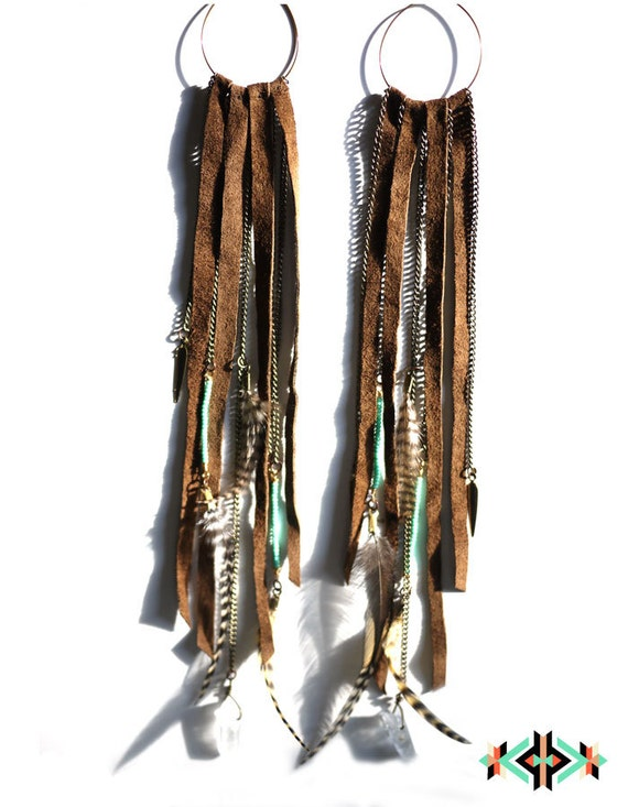 DEER SPIRIT - Long leather feather quartz crystal earrings