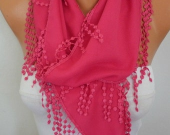 Hot Pink Chain Pashmina Scarf,Fall Summer Scarf,Necklace, Teacher Gift,Cowl Scarf  Bridesmaid Gift For Her Women Fashion - fatwoman