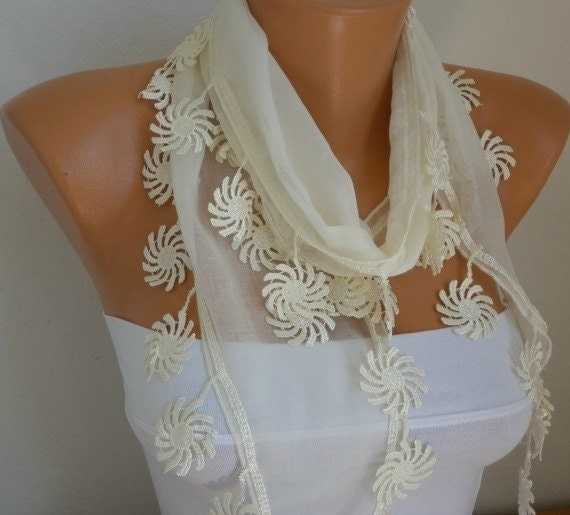 Creamy  White  Scarf  - Cotton  Scarf -  Cowl with Lace Edge   - fatwoman - Bridesmaids Gifts