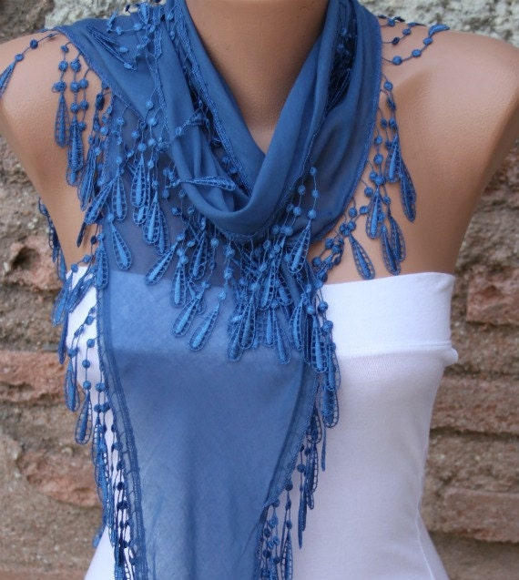 Blue Scarf  - Cotton  Scarf -  Cowl with Lace Edge  Gift Ideas for Her Women Fashion Accessories
