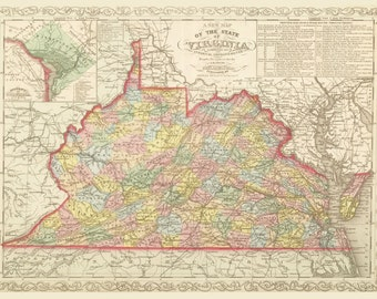 1859 Map Of Virginia Vintage  Print Poster