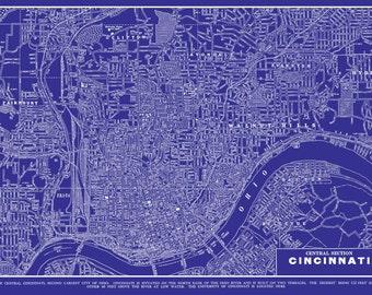 Cincinnati Ohio Map - Street Map Vintage Blueprint