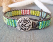 "SALE 20% OFF Colorful beaded leather bracelet ""Reggae Island"", multi color, green, yellow,  flower, boho friendship bracelet, ready to ship"