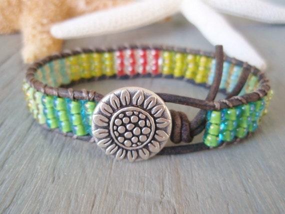 "SALE 20% OFF Colorful beaded leather bracelet ""Reggae Island"", multi color, green, yellow,  flower, boho friendship bracelet, ready to ship"