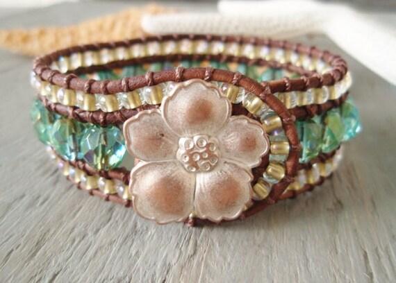 SALE 10% OFF- Leather cuff bracelet 'Mystic Lagoon ' aqua blue green, teal, iridescent gold, hibiscus, surfer beach girl, OOAK ready to ship