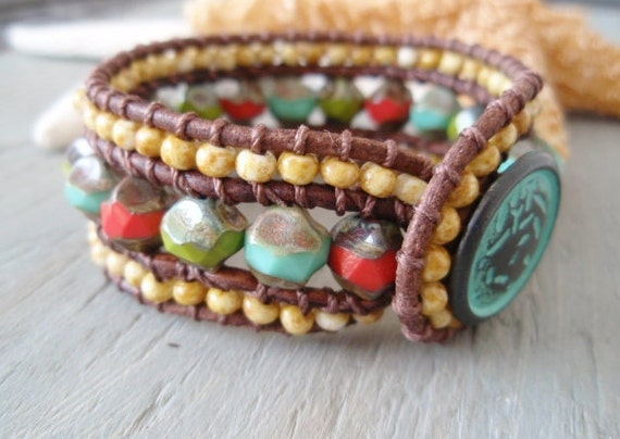 SALE 10% OFF -Colorful beaded leather cuff bracelet 'Retro Surfer' turquoise, coral, rustic fall boho, southwestern cuff, ready to ship