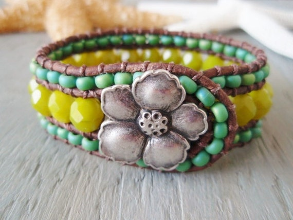 SALE 15% OFF -OOAK leather cuff bracelet 'Margaritaville' chartreuse lime green, hibiscus flower, lemon-lime, surfer girl, ready to ship