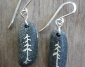 Ivory Pine Tree Beach Stone Earrings