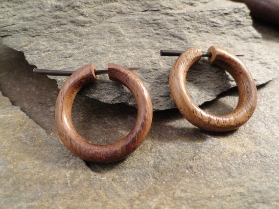 Organic Hoop Earrings Sono Wood Stirrup Hanger Earring
