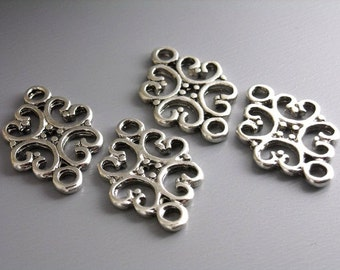 LINK-SILVER-18MMx13MM - Filigree Connectors in Antique Silver - 10 pcs