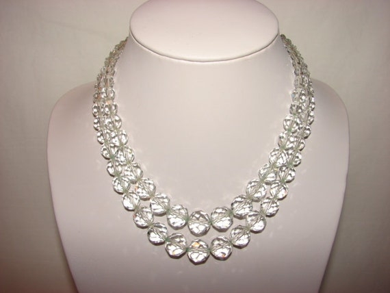 Vintage Art Deco Crystal Glass Bead Double Strand Necklace