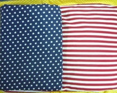 """Jersey knitted fabric  set of 3  - yarn dyed stripe """" Red / white """" repeat 1/4 """" , Print fabric in 2 Print """" Big Star """" & """" Small star """""""