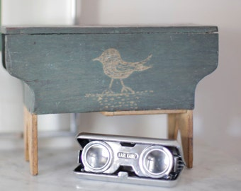 Green, Handcrafted Wooden Bank, Bird, Photograph Vintage - - Fine Art Photography Giclee Print / Home Decor, Wall Art A Grandpa's Love