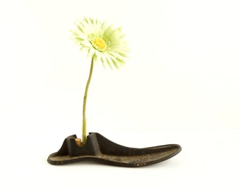 Vintage / Antique Cast Iron Shoe Form, No.4 with Test Tube (c.1920s) - Repurpose as a Test Tube Flower Vase, Home Decor, Bookends, and more