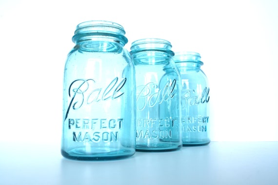 Vintage / Antique Aqua Blue Ball Perfect Mason Jars (Set of 3 - more available) circa. 1923-1933 - for weddings, parties, and more