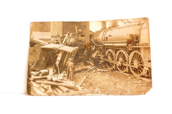 Antique Train Wreck Postcard from 1912 (Drake, North Dakota) - Collectible, Paper Ephemera, Altered Art, and more
