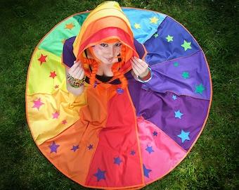 STARRY Rainbow* X-long Tournedot Dress. 12 stripe positively pixie hood/short sleeves