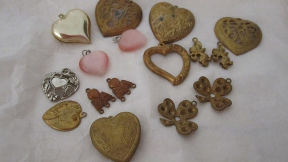 a lotta o hearts vintage brass looking hearts charms jewel insets great  jewelry making supplies earrings necklace or bracelet