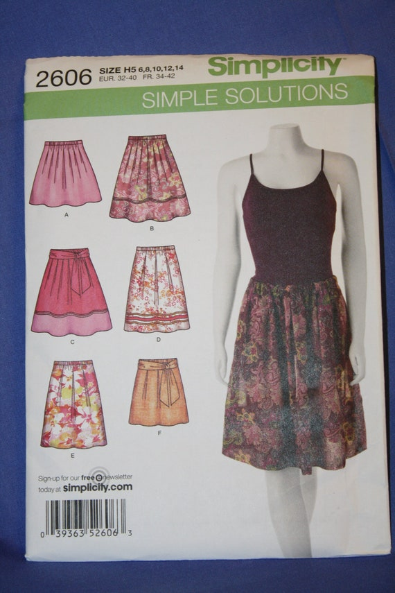 Simplicity 2606 Misses Pull-On Pleated Skirts in 2 Lengths and Tie Belt sz 6-14 New & Uncut