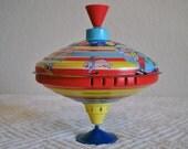 Circus Theme Vivid Color Tin Toy Top Collectible Vintage Nursery Toy Decor