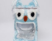 Owl Hat in Baby Blue and White color 0-1, 2-3, 3-6 mo, 12 - 18 mo - great photo prop or excellent Baby Shower gift