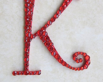 Red Embellished Initial Cake Topper