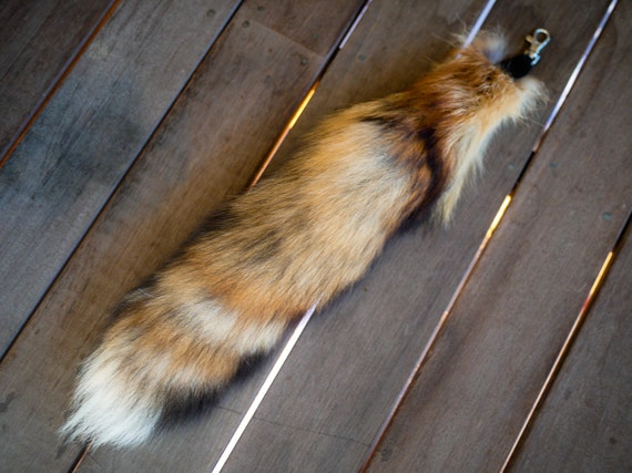 Soft Red Fox Tail with Leather Attachment
