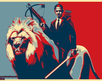 Obama Riding a Lion (red, white and blue)*various sizes available*