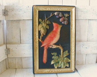 Vintage bird wall art 3-D molded picture red cardinal 1950s