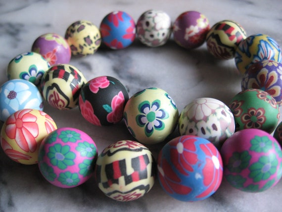 15 Polymer Clay Beads, Multicolor, Round, about 18mm bead size, hole: 1mm -1.5