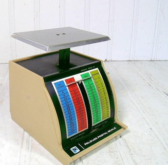 Vintage Pelouze Postal Scale - Viscount Model X-1 - Colorful Tin 1970s Office Equipment - Industrial Loft Decor Accent