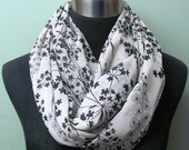 Beige with Chocolate Brown Floral Print and Gold Accent Infinity Scarf