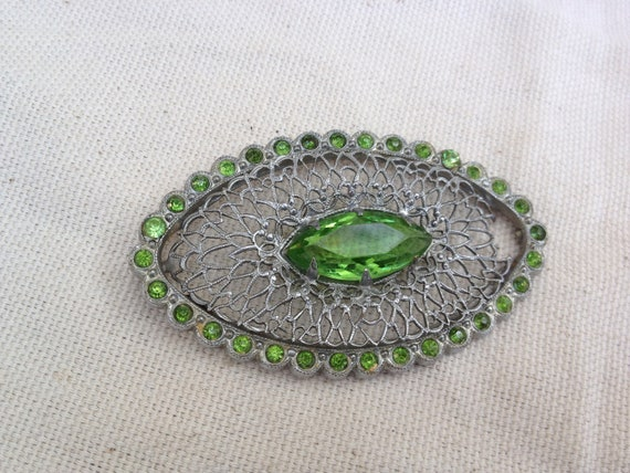 Peridot Green Filagree Salvaged 1920s Brooch for your creations
