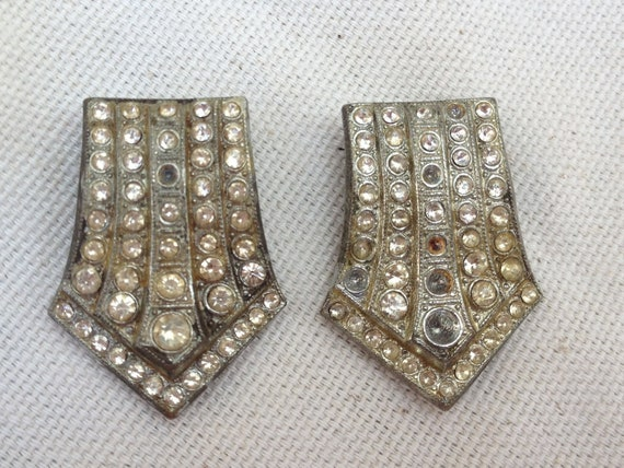 Antique Art Deco Paste fur shoe clips assemblage bridal wedding