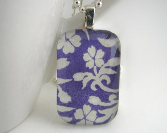 Blue Floral Stencil Pendant with Free Necklace