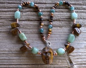 Tigerseye skull,adventurine and copper necklace 22 inches