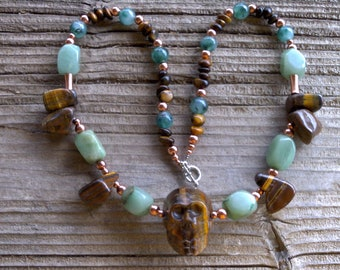Tigerseye skull,adventurine and copper necklace 22 inches