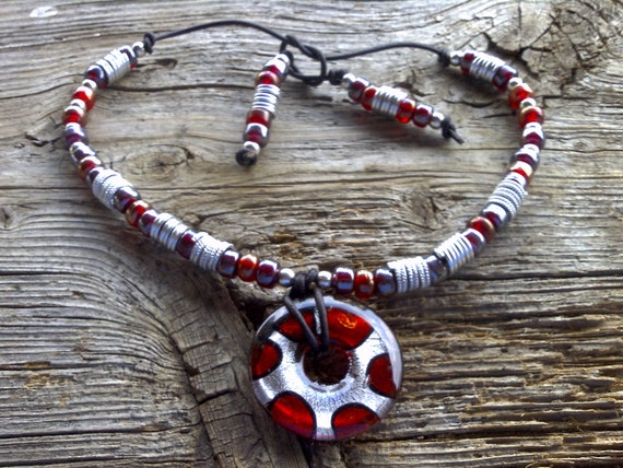 FOIL glass pendant beaded necklace on leather 20 inch adjustable
