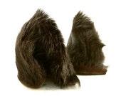 SALE Natural Black Wavy Long Fur Leather Wolf Dog Fox Ears Limited Edition Inumimi Cosplay Furry Goth Fantasy Fashion Wear